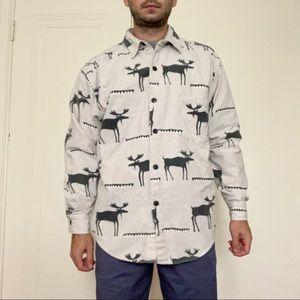 VTG True Grit Flannel Moose Button Down Shirt